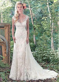 Elegant Tulle Scoop Neckline A-line Wedding Dresses With Lace Appliques