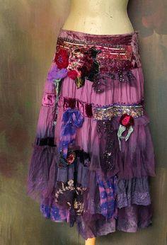 Vintage gypsy  skirt   romantic  gypsy hippy shabby chic