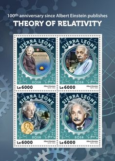 anniversary since Albert Einstein publishes Theory of Relativity (Albert Einstein Albert Einstien, Michael Faraday, Nobel Prize Winners, Theory Of Relativity, E Mc2, Stamp Collecting, Sierra Leone, Postage Stamps, Einstein