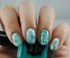 Kynsin: Merellistä? Nail Art, Turquoise, Nails, Rings, Jewelry, Finger Nails, Jewlery, Ongles, Jewerly