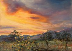"""A real sky over Alpine, TX: """"Setting Sun, Sunny Flowers""""  5"""" x7"""" pastel by Lindy Cook Severns 2012"""