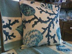 P Kaufmann Seashell Branch Pacific fabric pillow by RuthEllensfc, $30.00