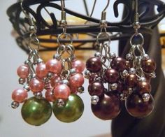 Pomegranate OR pink and moss-green pearl cluster earrings