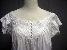 #V3 - 1860's Cotton Hand Embroidered Victorian Chemise Hand Sewn | eBay