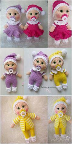 plus Amigurumi Doll Pacifier Baby Free Crochet Pattern – Crochet. Crochet Dolls Free Patterns, Crochet Doll Pattern, Amigurumi Patterns, Crochet Toys, Free Crochet, Crochet Gratis, Easter Crochet Patterns, Amigurumi Doll, Crochet Projects