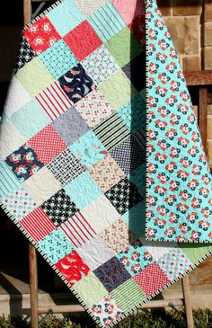 Baby Quilt, DaySail, Nursery Crib Bedding, Cot Blanket, Red Aqua Blue Navy Green, Flowers Floral, Child Toddler Youth, Designer Fabrics Sail