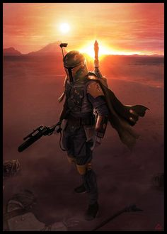 Here is some beautiful Star Wars art by G-R-A-Y, which features Boba Fett in all his glory.