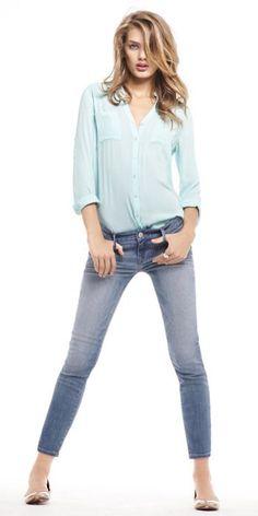 849c145374cfa5 EXPRESS PORTOFINO SHIRT & STELLA ANKLE JEAN Express Portofino Shirt, Beige  Flats, Shirt Tucked