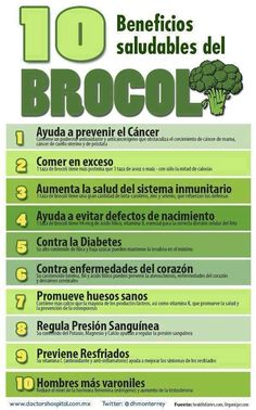 10 beneficios saludables del brocoli. #brocoli #infografía #infographic #saludable #salud #sanudiet #farmaciabonnin