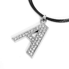 """Rhinestone Initial Pendant Necklace; Letter A; 18""""L Black Cord Chain; Silver Metal Pendant With Clear Rhinestones; Lobster Clasp Closure; Letter A; Eileen's Collection. $16.99. Save 43%!"""