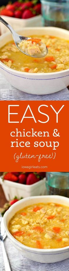 Easy Chicken and Rice Soup is a quick and simple gluten-free soup recipe that the entire family will love. Healthy comfort food in a bowl! | http://iowagirleats.com