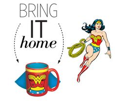 """""""Bring It Home: Wonder Woman Caped Mug"""" by polyvore-editorial ❤ liked on Polyvore featuring interior, interiors, interior design, home, home decor, interior decorating and bringithome"""