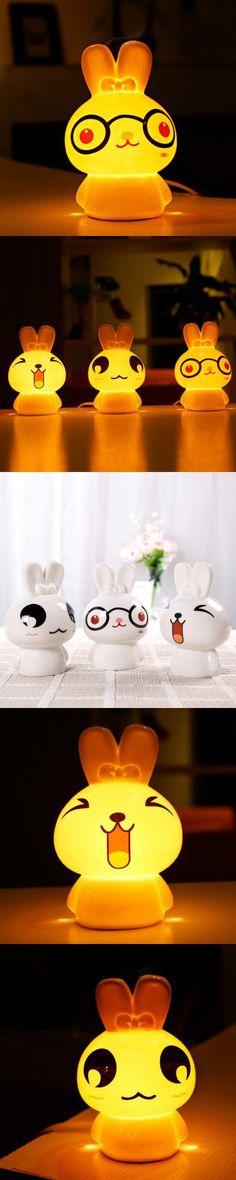 Indoor Lights | Ceramic Cartoon Rabbit LED Night Light Fragrance Lamp
