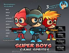 """Check out new work on my @Behance portfolio: """"Super Boys Game Sprites"""" http://be.net/gallery/50136083/Super-Boys-Game-Sprites"""