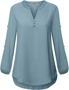Shop a great selection of Timeson Women's Henley V Neck Chiffon Blouses Split Button Long Sleeve Tunics. Find new offer and Similar products for Timeson Women's Henley V Neck Chiffon Blouses Split Button Long Sleeve Tunics. Tunic Shirt, Shirt Sleeves, Tunic Tops, Jenna Marbles Merch, Camisa Feminina Plus Size, Pakistani Fashion Casual, Kurta Neck Design, Women's Henley, Tunics Online