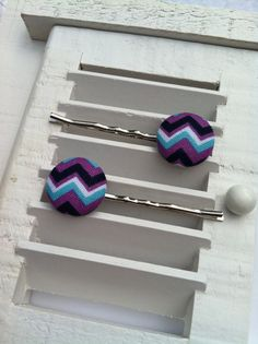 Blue, Teal, and Purple Chevron Fabric Covered Button Bobby Pins