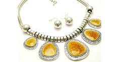 Uniklook Fashion jewelry Chunky Silver & Mustard Glittery Statement Necklace Set $26.65