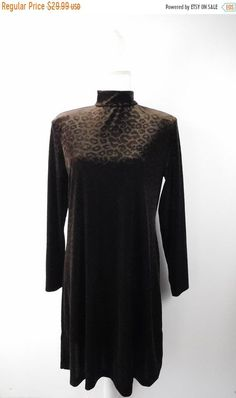 cae182bd2d25 35% OFF FALL SALE Vintage 1990 90s Citi Dress Dark Brown Velvet Cheetah Leopard  Print