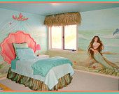 Mermaid Shell Headboard and Custom Bulletin Board by StickyPixies Olivia's room Sea Theme Rooms, Room Themes, Dream Bedroom, Girls Bedroom, Bedroom Ideas, Fantasy Bedroom, Bedroom Wall, Sea Bedrooms, Ocean Room
