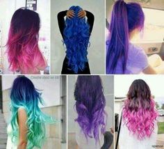 Brightly colored hair. I think this looks so beautiful