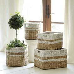 Set of 2 Ticking Baskets- Not sure where I imagine these round baskets, but these would be so easy to make myself, maybe with silver paint instead.  Love the white for summer, though.