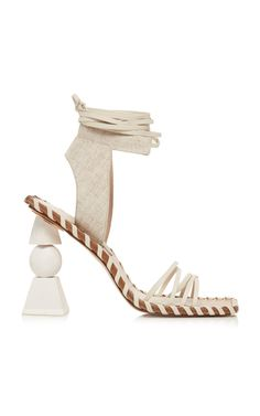 Shop Les Valerie Hautes Linen And Leather Sandals. Artfully sculpted with various materials, Jacquemus' 'Les Valerie Hautes' sandals are the perfect way to liven your Pre-Fall footwear selection. Gladiator Sandals, Leather Sandals, Flat Sandals, White Sandals, Jacquemus Shoes, Fall Shoes, Designer Shoes, Designer Clothing, Fashion Shoes