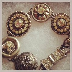 Vintage button Bracelet by D. Wallace Designs.