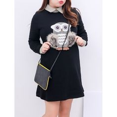25.07$  Buy here - http://difb0.justgood.pw/go.php?t=202730502 - Plus Size Furry Owl Insert Fleece Lined Dress