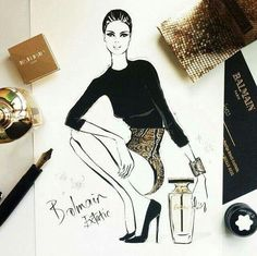 Fashion Illustration - Balmain extatic - gold #fashion #illustration #sketch #glitter #balmain #drawing #gold