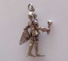 Silver Moving Knight in Armour Charm or Pendant by TrueVintageCharms on Etsy