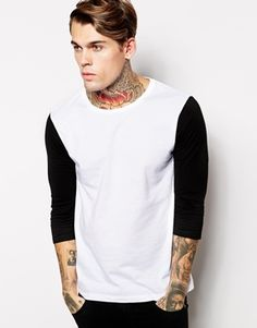 ASOS 3/4 Sleeve T-Shirt With Contrast Sleeves