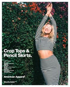 Matching houndstooth skirt and crop. #AmericanApparel