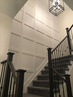 Portentous Useful Tips: Wainscoting Bedroom Wallpapers wainscoting living room wall.Stained Wainscoting With White Trim. Wainscoting Bedroom, Stairway Wainscoting, Black Wainscoting, Wainscoting Kitchen, Painted Wainscoting, Wainscoting Panels, Wainscoting Ideas, Stairway Walls, Staircase Design