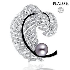 Woman Jewelry Gifts PLATO H Love Cultured Pearl & Feather Brooch with Swarovski Crystal Women Fashion Jewelry Greatest Gift for Her Brooch Gifts