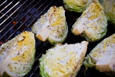 In honor of St. Patty's Day, grilled cabbage wedges.