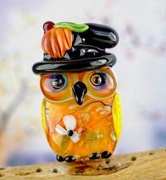 Blair............lampwork owl bead.......... sra.... DeniseAnnette #DeniseAnnette #Lampwork