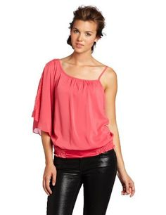XOXO Juniors One Shoulder Inset Top, Pink, Medium XOXO. $44.00. Made in China. 97% Polyester/3% Spandex. Hand Wash. Skinny strap detail and oversized sleeve. Lace trim on oversized sleeve