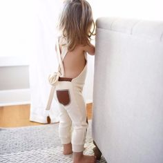 Cream Playsuit with Leather Patches