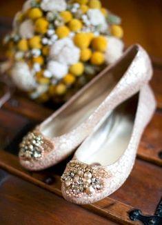 Sparkly bridal ballet flats