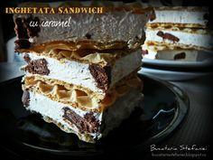 Reteta culinara Inghetata sandwich din categoria Inghetate. Cum sa faci Inghetata sandwich Parfait, Tiramisu, Biscuit, Caramel, Sandwiches, Food And Drink, Sorbet, Ice Cream, Candy