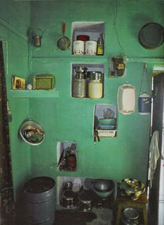 green painted walls, Indian kitchen