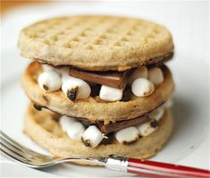 S'more Waffles! - I've had smores for breakfast before, but not on waffles. Breakfast Waffles, Breakfast Recipes, Dessert Recipes, Pancakes, Breakfast Ideas, Campfire Breakfast, Brunch Ideas, Breakfast Time, Brunch Recipes