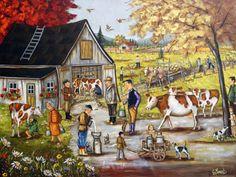 Ecole Art, Cottage Art, Galerie D'art, Down On The Farm, Autumn Art, Watercolor Print, Farm Animals, Farmhouse Decor, Prints