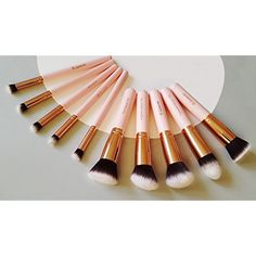 Kabuki Makeup Brush Set - Foundation Powder Blush Concealer Contour Brushes - Perfect For Liquid, Cream or Mineral Products - 10 Pc Collection With Premium Synthetic Bristles For Eye and Face Cosmetic Contour Brush, Makeup Brush Set, Faces Cosmetics, Real Techniques, Brush Sets, Powder Foundation, Starter Kit, Concealer, Minerals