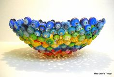 Rainbow Upcycled Paper Bowl Sculpture made from Magazines, Catalogs, Candy Wrappers etc.
