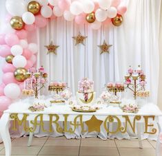First birthday for you little princess ✨ complete theme decor in ✨ discounted price for july-August bookings only for details and inquiries contact First Birthday Theme Girl, Pink And Gold Birthday Party, Baby Birthday, Birthday Parties, Christening Table Decorations, 1st Birthday Decorations, Balloon Decorations, Baby Girl Shower Themes, Girl Baby Shower Decorations
