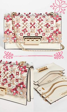 NA Imported Leather: Calfskin Smooth leather shell with cutwork eyelet flap, Floral appliqués with rhinestone cabachons, Divided compartments Length: 9.75in / 25cm Height: 6in / 15cm Flip lock closure shoulder bag beautiful bags favor bags bags for women bag pattern women bags fashion women bags 2019 women bags handbags handbags 2019 trend #bags #handbags #shoulderbags Chain Shoulder Bag, Shoulder Handbags, Cutwork, Women Bags, Favor Bags, Zac Posen, Gypsy Style, Beautiful Bags, Smooth Leather