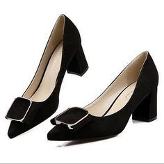 Find More Women's Pumps Information about Fall 2015 new women's buckle black/red matter leather elegant high heels comfortable thick low heels pointy work dress shoes,High Quality Women's Pumps from Toptrade Co.,ltd on Aliexpress.com