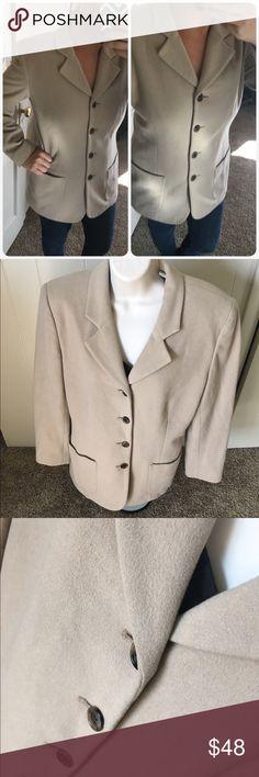 "Ann Taylor blazer 80's vintage 55% wool 20% angora rabbit 20% nylon 5% cashmere 30"" long 18"" pit to pit Vintage Jackets & Coats Blazers"