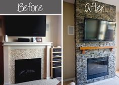 Hirondelle Rustique: DIY Stacked Stone Fireplace  Serious detail of her remodel project